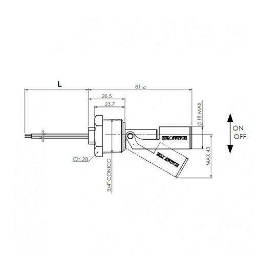 esquema Sensor de nivel electromagnético con fijación lateral, modelo P530N Euroswitch